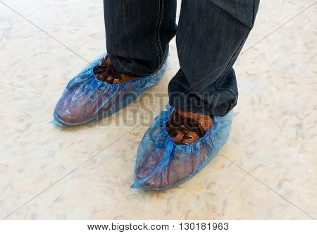Blue Hygienic Shoe Cover for Male Feet