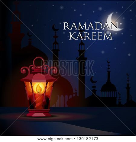 Ramadan Kareem greeting card with ligh lantern. Illustration  of muslim holy month with mosque building. Vector Illustration.