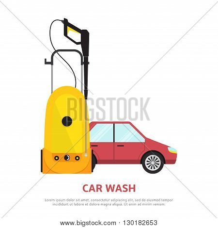 Car wash web banner in flat style. Vector illustration with car, tool for hand car wash.