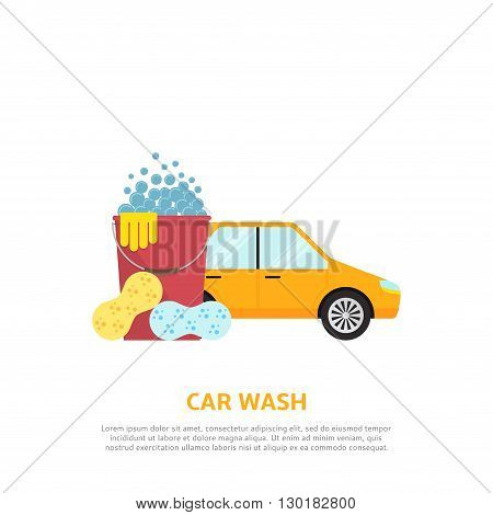 Car wash web illustration in flat style. Vector background with car, red plastic bucket, sponges.