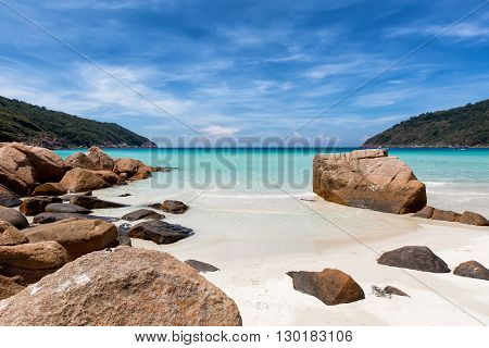 Rock formation on a tropical beach on Redang Island, Malaysia