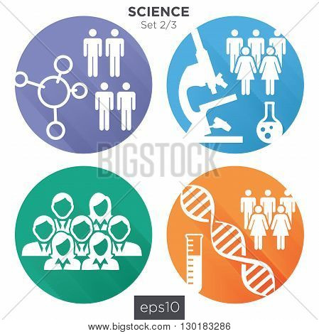 2/3 Round Science Medical Healthcare Icons with People Charting Disease or Scientific Discovery