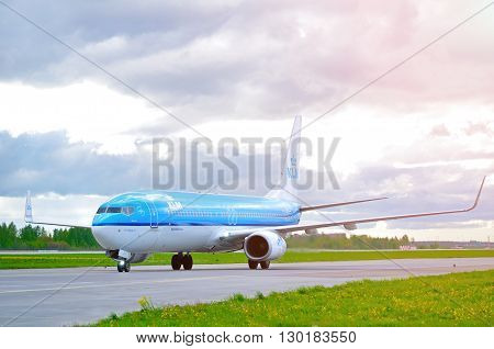 SAINT PETERSBURG RUSSIA-MAY 112016. KLM Royal Dutch Airlines Boeing 737 Next Gen airplane-registration number PH-BXT. Airplane rides on the runway after arriving at Pulkovo International airport