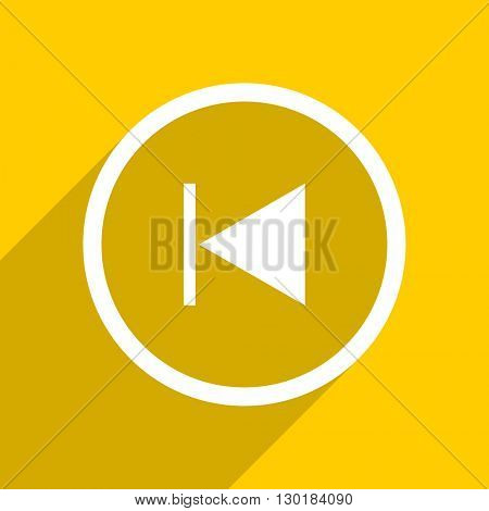yellow flat design prev web modern icon for mobile app and internet