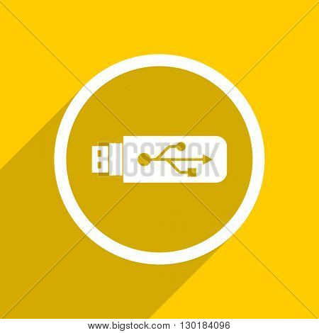 yellow flat design usb web modern icon for mobile app and internet