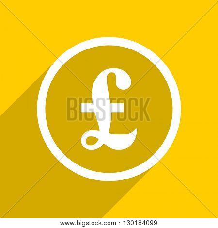 yellow flat design pound web modern icon for mobile app and internet