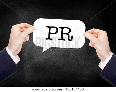 PR written on a speechbubble