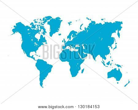 Vector map of World. Blue silhouette on white background. Simplified World map