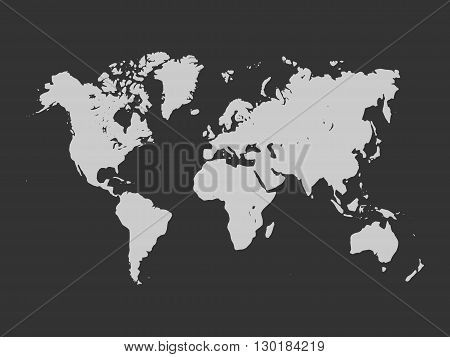 Vector map of World. Light grey silhouette on dark grey background. Simplified World map