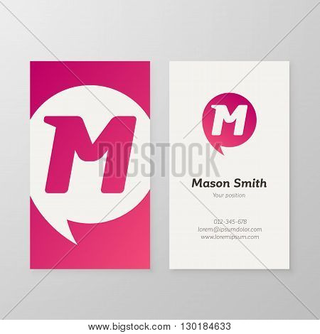 Modern letter M in speech bubble Business card template. Vector business personal card design. Layered editable.