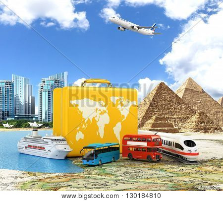 Trip to World. Travel to World. Vacation. Road trip. Tourism. Yellow suitcase. 3D illustration.