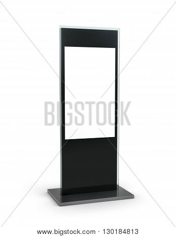 Electronic information stand isolated on white background. Advertising. 3d illustration
