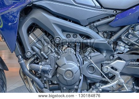 Close Up Of Engine Of New Motorcycle