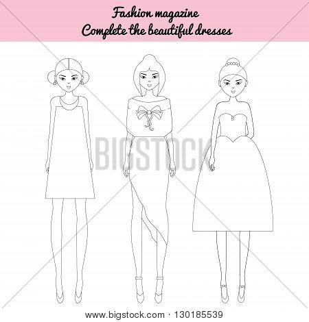 Coloring page for kids. Be a fashion editor game. Color the fashion models fashion magazine sheet. Fancy dolls in stylish outfit.