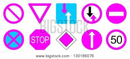 Collection of pink and blue road sign