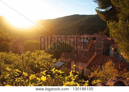 Summer sunset in the village, Provence, France