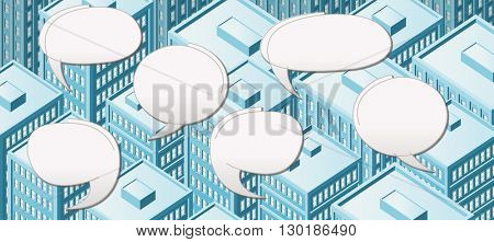 Big isometric city with people talking. Speech balloon, speech bubble.