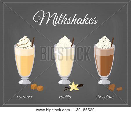 Cartoon milkshakes in glass on chalkboard background. Caramel, vanilla, chocolate milkshake flavor.