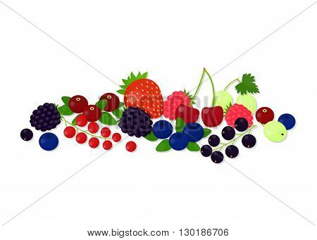 Composition of different berries on white background. Cranberry, strawberry, blackberry, raspberry, blueberry, redcurrant, blackcurrant, cherry, gooseberry.