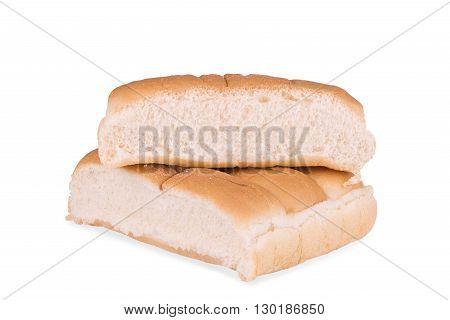 Group of plain hot dog buns isolated on white background.