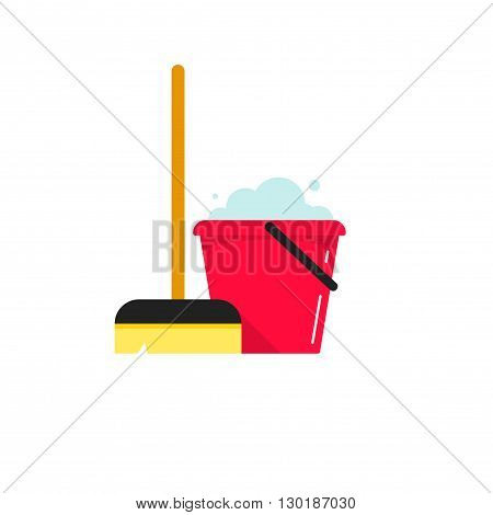 Cleaning supplies vector illustration isolated on white background, flat cleaning service logo with bucket and mop tools, cartoon cleaning concept design