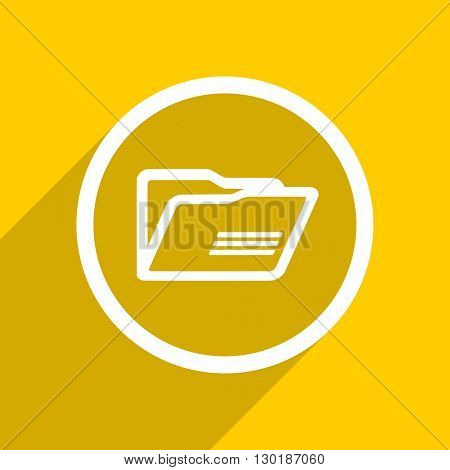 yellow flat design folder web modern icon for mobile app and internet