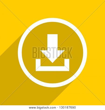 yellow flat design download web modern icon for mobile app and internet