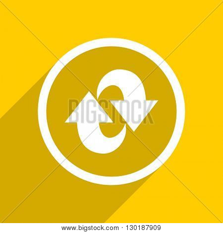 yellow flat design rotation web modern icon for mobile app and internet