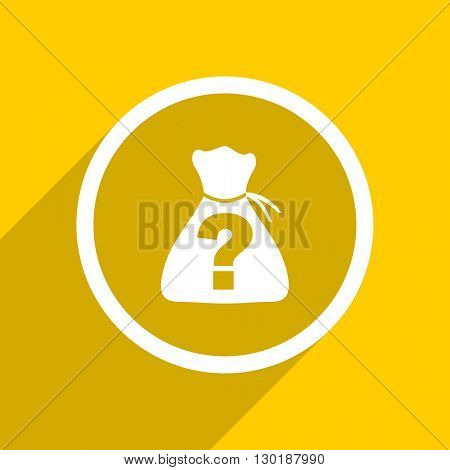 yellow flat design riddle web modern icon for mobile app and internet
