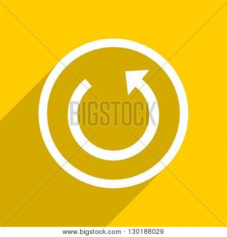 yellow flat design rotate web modern icon for mobile app and internet