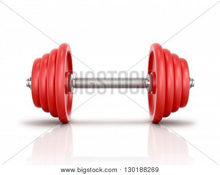 The red metal dumbbell isolated white background.3D illustration