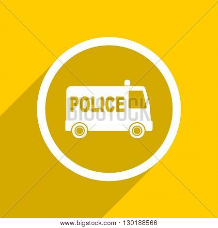 yellow flat design police web modern icon for mobile app and internet