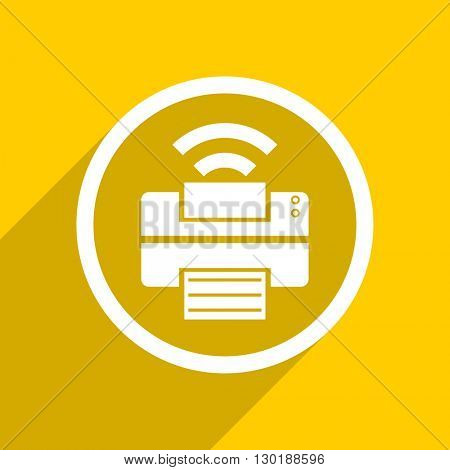 yellow flat design printer web modern icon for mobile app and internet