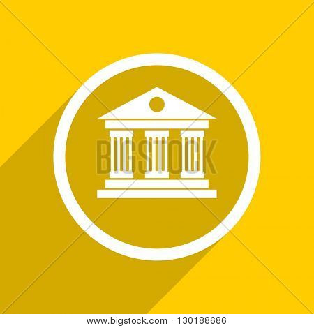 yellow flat design museum web modern icon for mobile app and internet