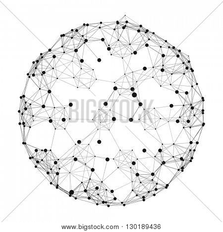 Sphere with Connected Lines and Dots. Global Digital Connections. Globe Grid. Wireframe Sphere Illustration. Abstract 3D Grid Design. 3D Technology Style. Networks.