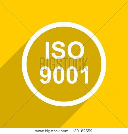 yellow flat design iso 9001 web modern icon for mobile app and internet