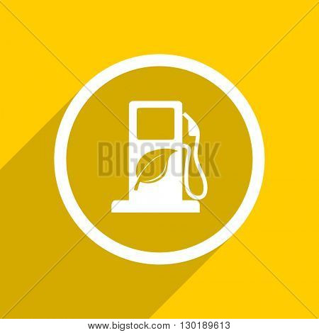yellow flat design biofuel web modern icon for mobile app and internet