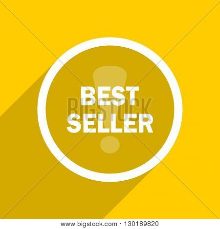 yellow flat design best seller web modern icon for mobile app and internet