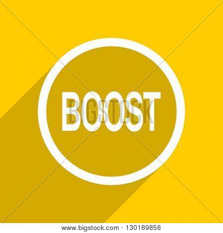 yellow flat design boost web modern icon for mobile app and internet