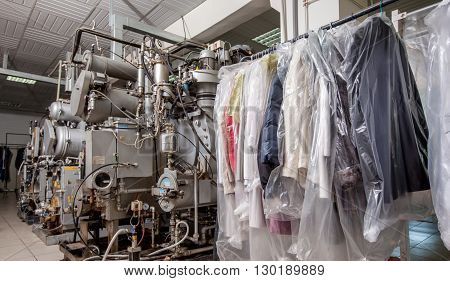 Dry Cleaning. Image of modern equipment and clothing on hangers