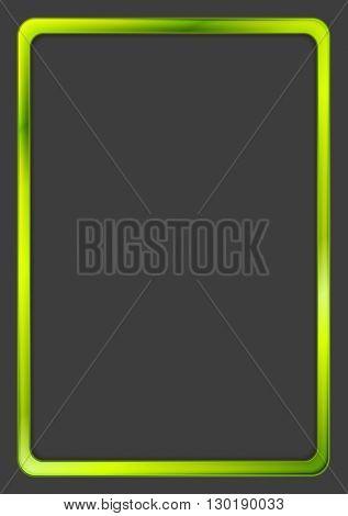 Bright green neon frame on dark background