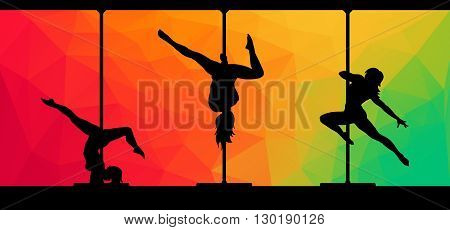 Black vector silhouettes of female pole dancers performing pole moves on abstract background.