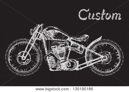 hand-painted retro motorcycle and lettering text custom, classic