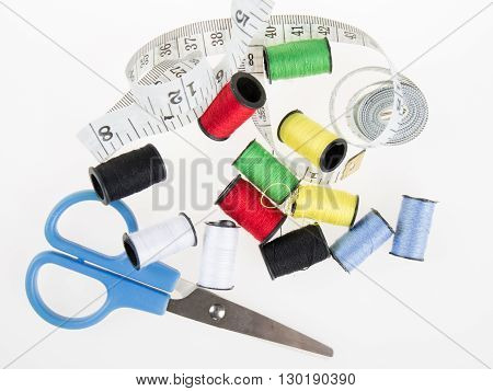 Accessories For Needlework On Wooden Background.