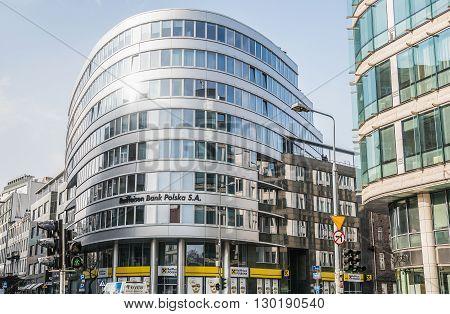 WARSAW POLAND - FEBRUARY 3 2015. General view on office block of Raiffeisen Bank Polska at Piekna Street in Warsaw