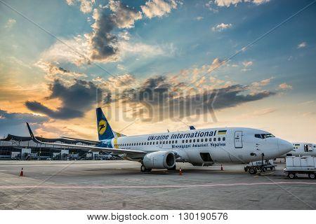 KIEV UKRAINE - JULY 17 2015: Boeing 737 of Ukraine International Airlines at Boryspil International Airport