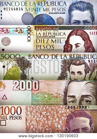 Colombian Peso bills creating a colorful background