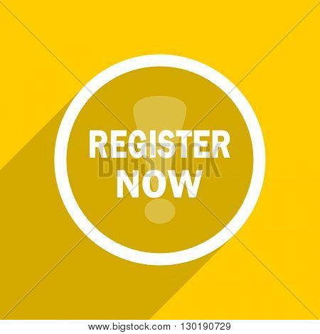 yellow flat design register now web modern icon for mobile app and internet