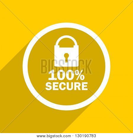 yellow flat design secure web modern icon for mobile app and internet