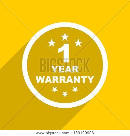 yellow flat design warranty guarantee 1 year web modern icon for mobile app and internet